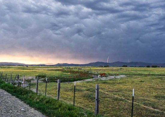 Lightning strikes in Baker Valley, Oregon.