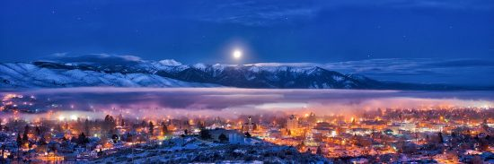 The Magic of Christmas Morn Panorama features rare full moon on Christmas morning, 2015, sets over Baker City & The Elkhorn Mountains in Eastern Oregon.