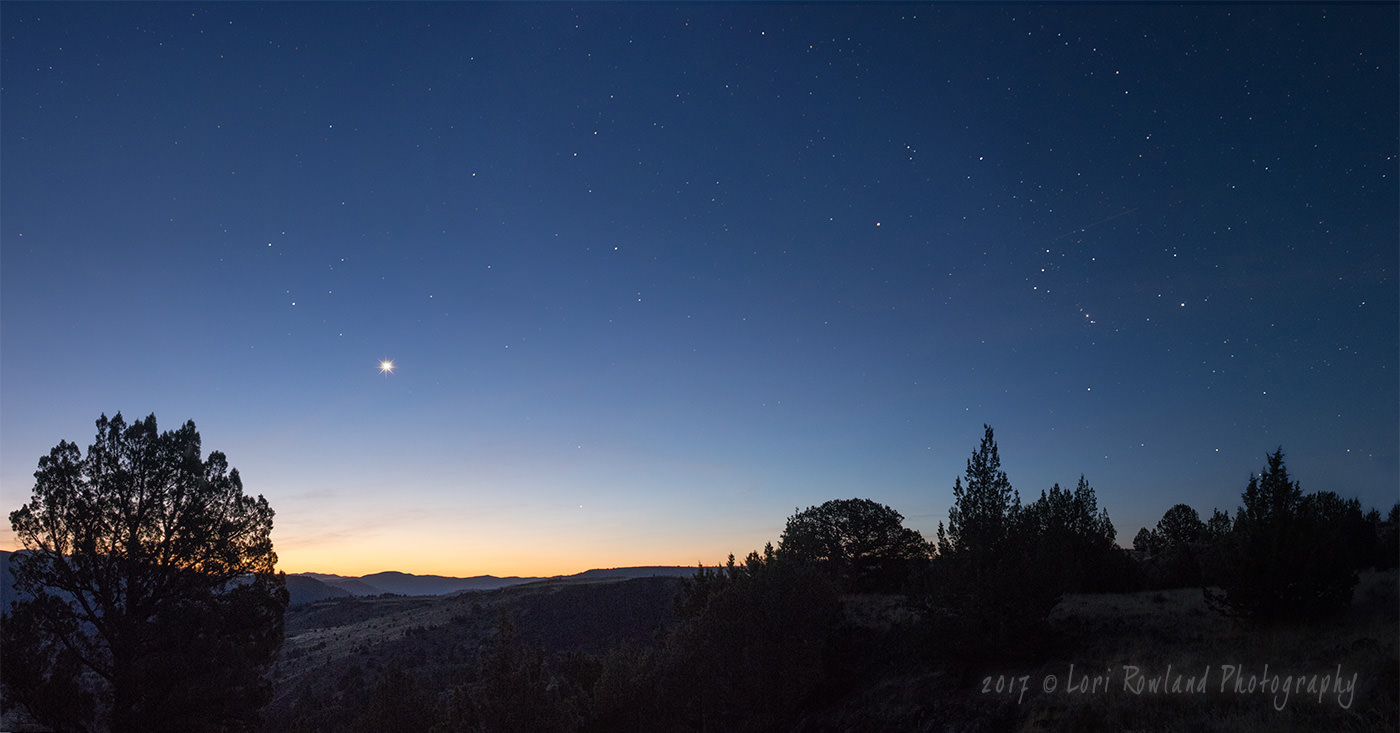 Venus and Orion in the early morning sky of eastern Oregon.