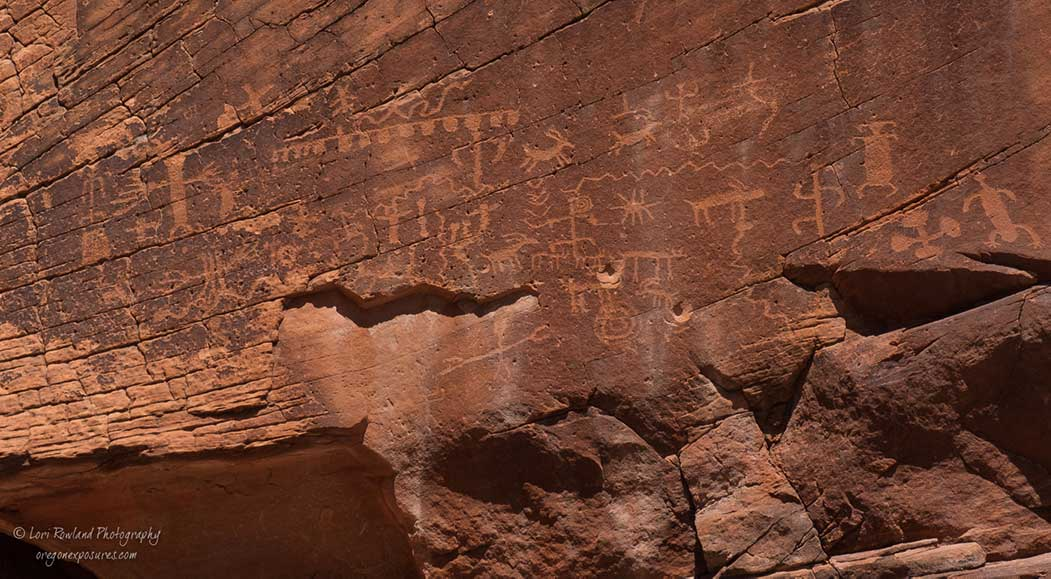 A big panel of petroglyphs and 2 bullet holes at Gold Butte National Monument in Nevada.
