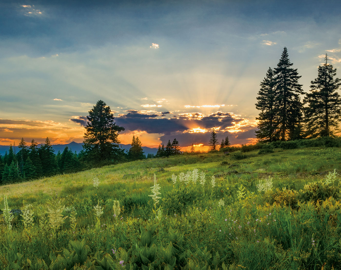 Sunset and sun rays Eastern Oregon